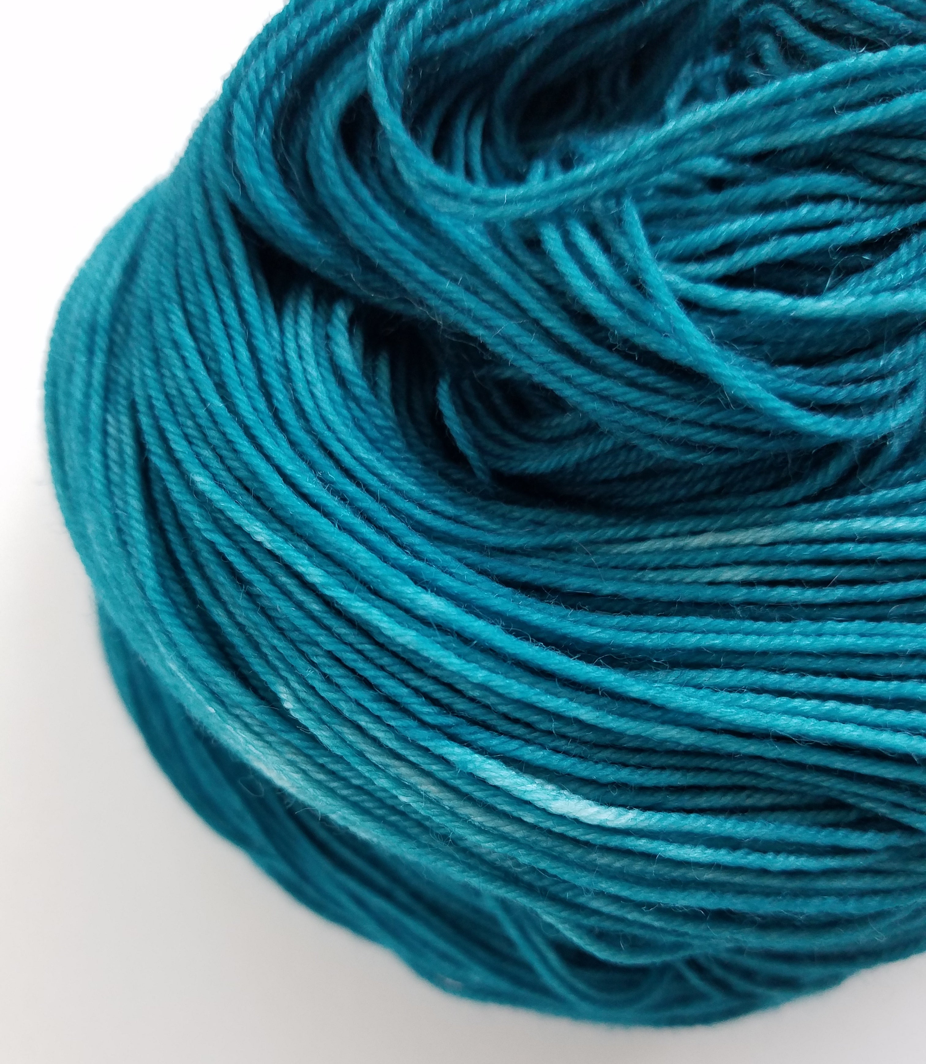 Teal Hand Dyed Yarn Semi Solid