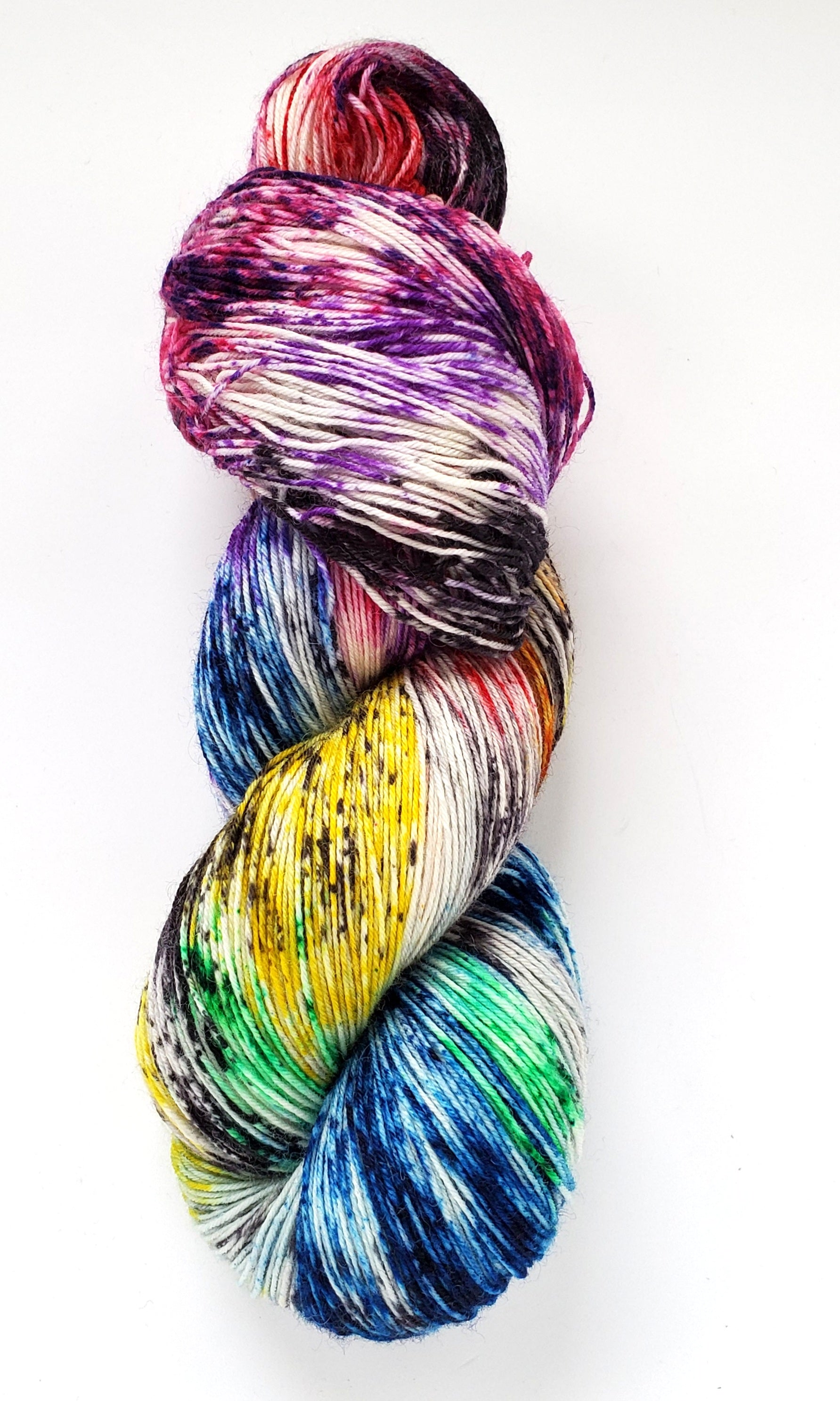 Veronica Hand Dyed Yarn Rainbow Black Speckle