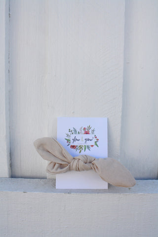 Glow and Grow Bow Scrunchie Beige Linen