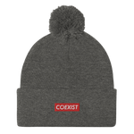 Coexist RED - Pom-Pom Beanie