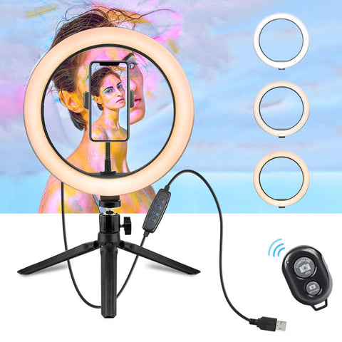 LED Camera Selfie Light Ring for iPhone Tripod and Phone Holder