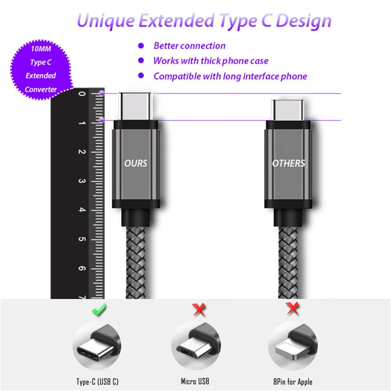 10mm Long Usb C Type C Extended Connector Charging Cable For Blackview Nz Accessories