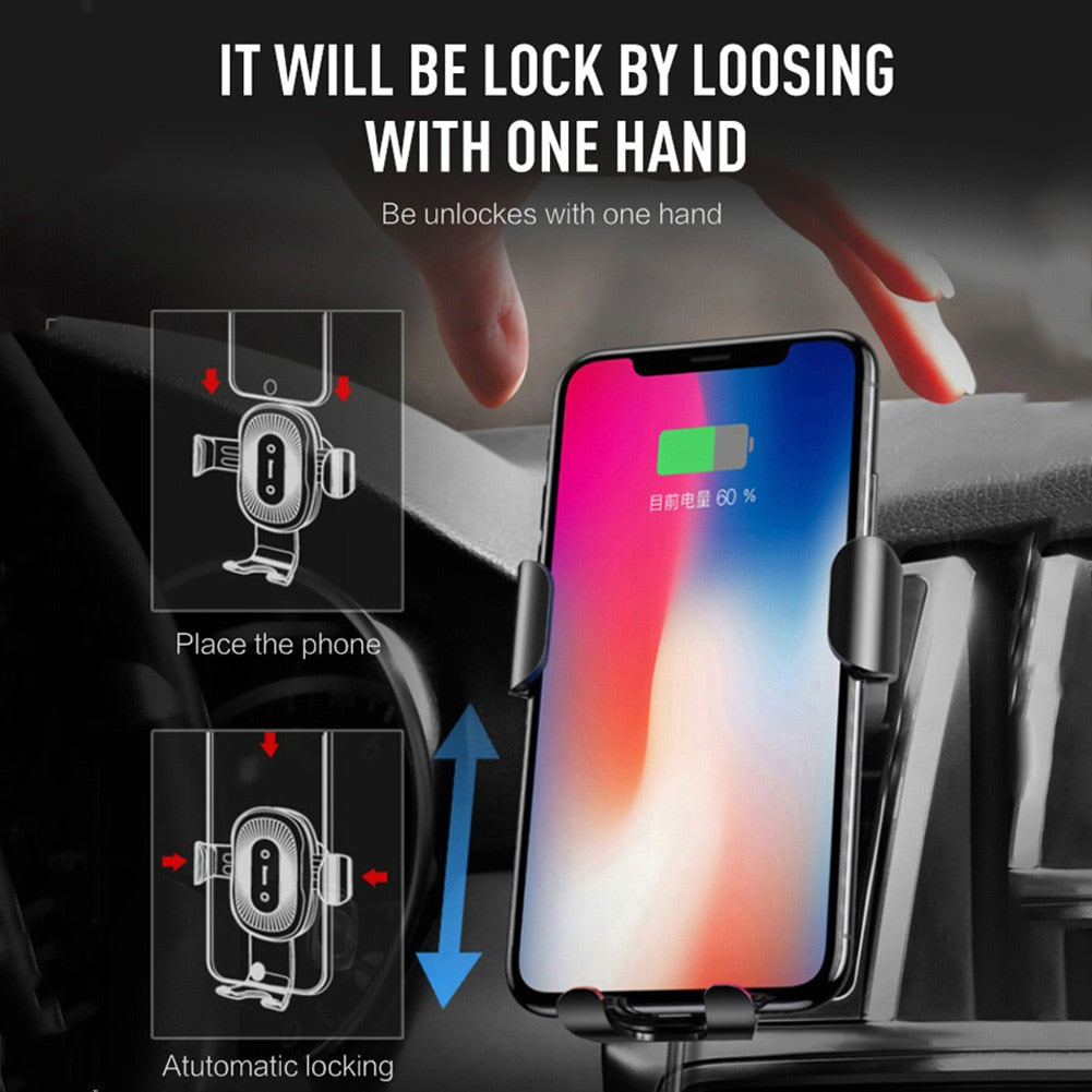 10W QI Wireless Fast Charger Car Mount Holder Stand For iPhone XS Max Samsung S9 For Xiaomi MIX 2S