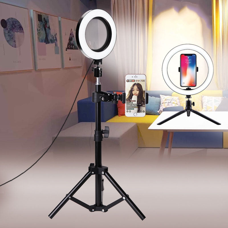 10cm/26cm Selfie Ring Light Youtube Video Live Photography Dimmable LED Photo Studio Light Tripod