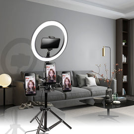 Dimmable LED Selfie Ring Light Camera Phone Photography Video Makeup Lamp with Tripod & Phone Clip