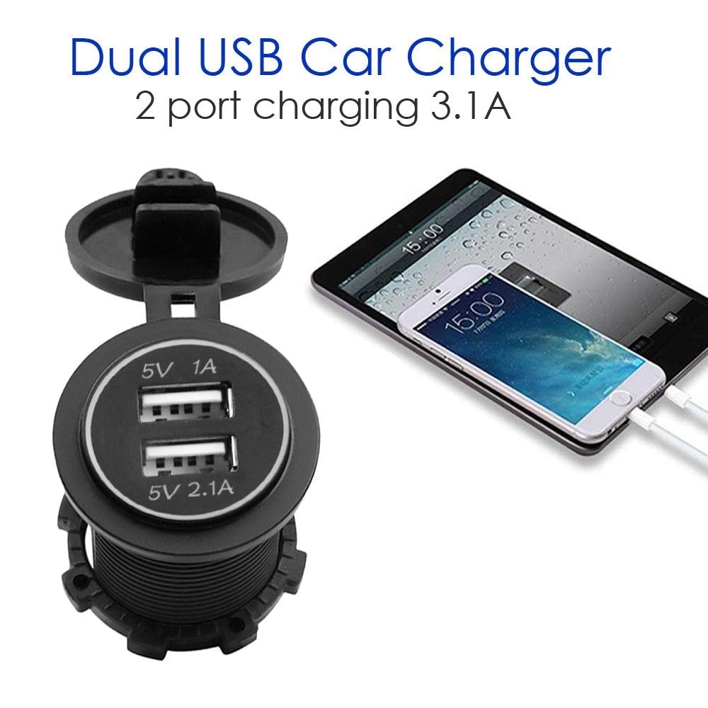 12V-24V Car USB Charger 3.1A for Motorcycle Auto Truck ATV Boat LED Light Dual USB Socket Charger