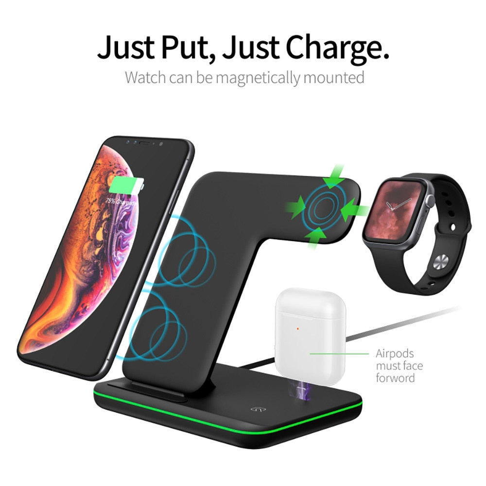 15W Qi Wireless Charger Stand For Iphone X XS MAX XR 8 Fast Charging Dock Station For Apple Watch