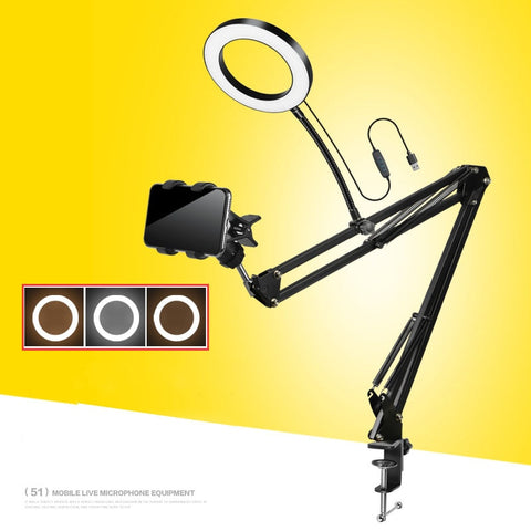 16CM desk Live Stream Makeup LED Ring Light With Long Arms smartphone clip for Youtube Makeup Selfie tablet pad Phone Holder