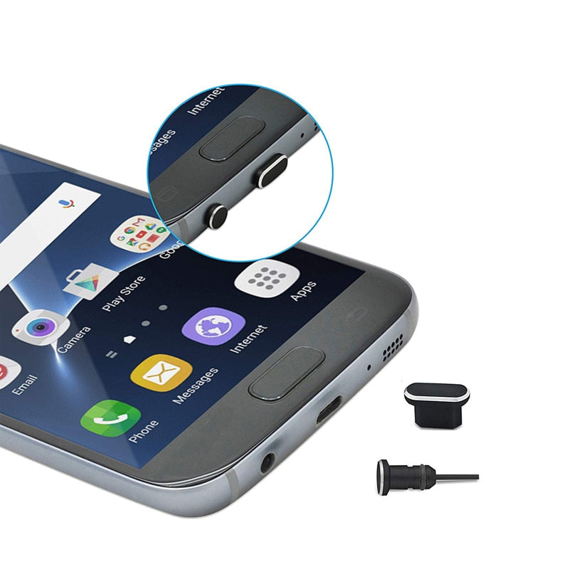 1Set Metal Dust Plug Phone Accessories Micro Charging Port + 3.5mm Earphone jack Plug For Android
