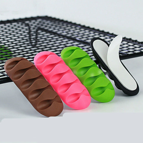 2PCS 5 Clips Cable Organizer Silicone USB Cable Winder Desktop Tidy Management 7 Clips Cable Holder