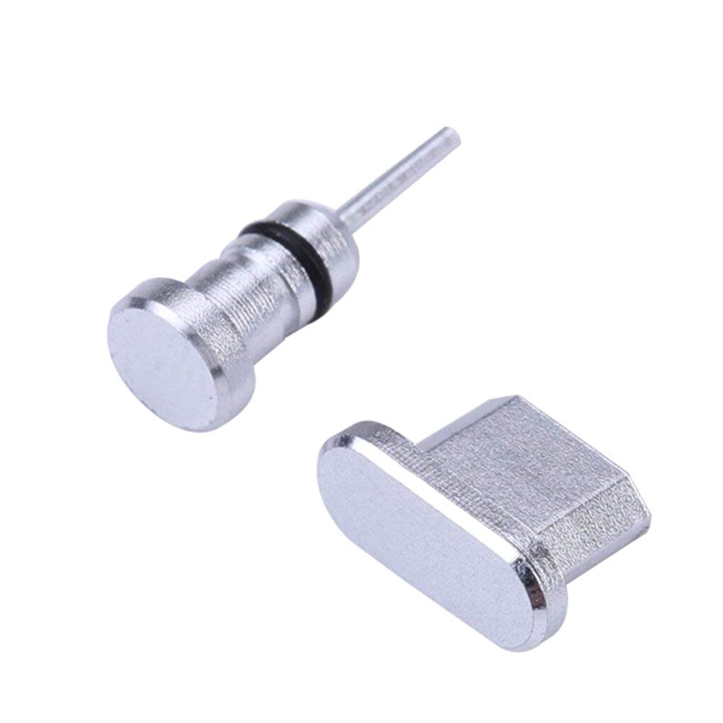 2PCS/Set Metal Charging Port + Earphone Port Dust Plug Replacement for Android Mobile Phone 3.5mm