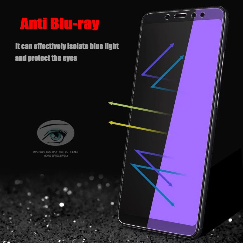 2Pcs/lot Full Tempered Glass For Xiaomi Redmi Note 5 Pro 6 Screen Protector Anti Blu-ray Protector