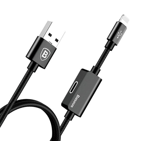2in1 Charger Cable For iPhone Lightning 8 X 10 Plus Aux Jack Music Charging Audio Adapter Cable Headphone Earphone Cable