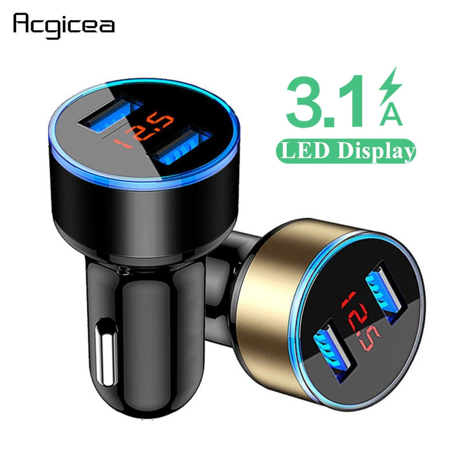 3.1A Dual USB Car Charger With LED Display Universal Mobile Phone Car-Charger for Xiaomi Samsung
