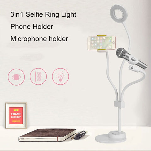 3 in 1 Lazy Bracket Phone Stand & Microphone Holder Flexible Cellphone Clip with Touch dimmable LED Lightbeads Selfie Ring Light