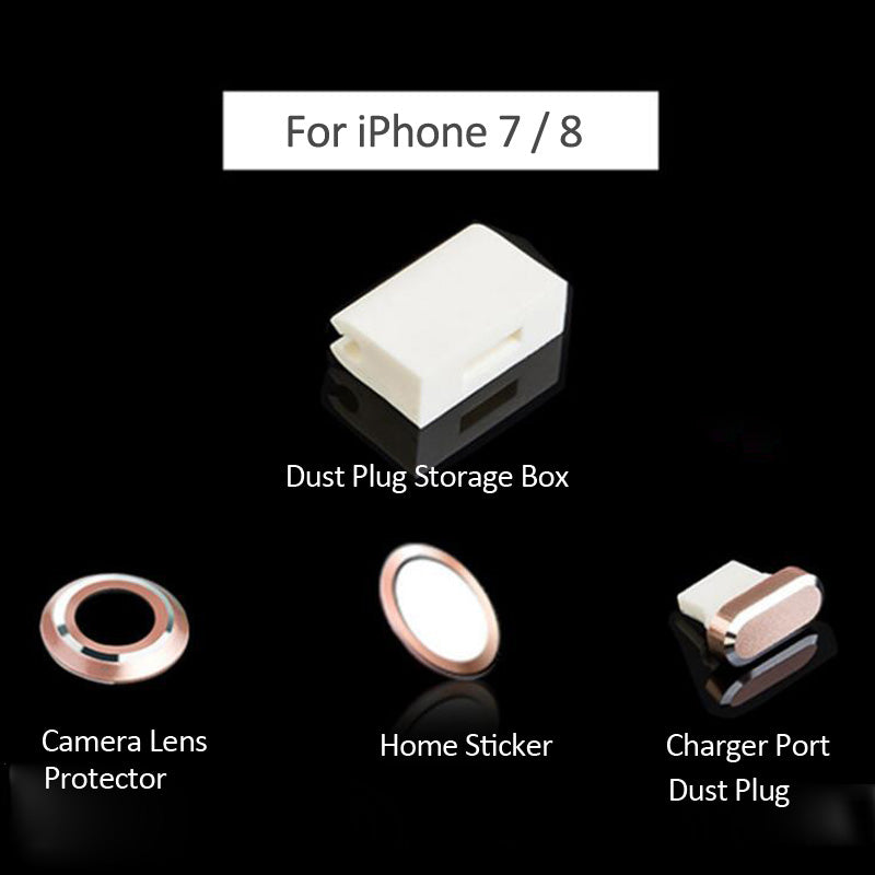 4 In 1 For iPhone 7 8 Metal Rear Camera Lens Protector Cover+Home Button Sticker+Charging Port