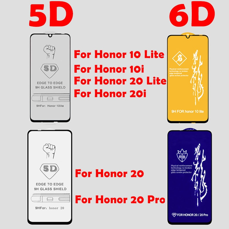 5D Tempered Glass for Huawei Honor 10 20 Lite Pro Screen Protector Honor 10 20 i Glass for Huawei