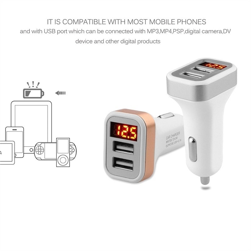 5V USB Car-Charger with LED Screen Smart Auto for iPhone 7 Samsung Xiaomi Car Mobile Phone