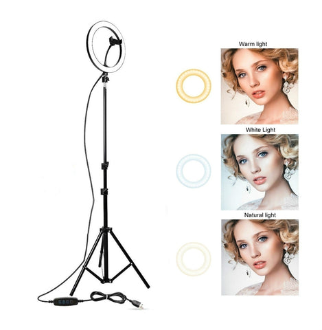 Studio Ring Light Video LED Beauty Ring Light Photography Dimmable Ring Lamp+Tripod