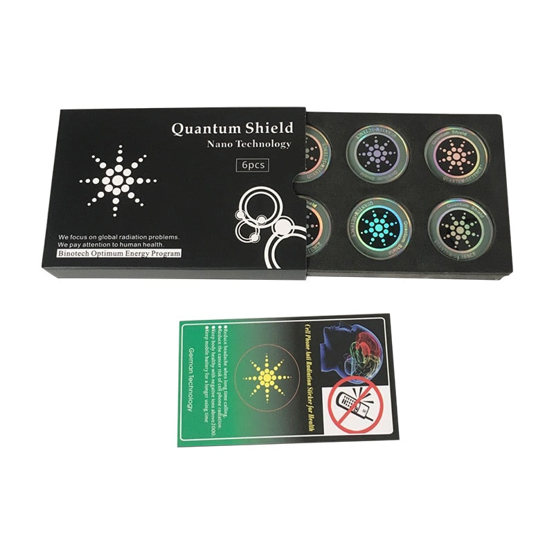 6pcs/boxs Round Scalar Quantu m Shield Energy Sticker with Negative Ions Anti Radiation Protection