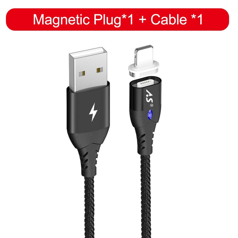 A.S LED Magnetic Cable For Lightning Micro USB Type C Phone Cable for iPhone X 8 7 6 5 Xiaomi 1m
