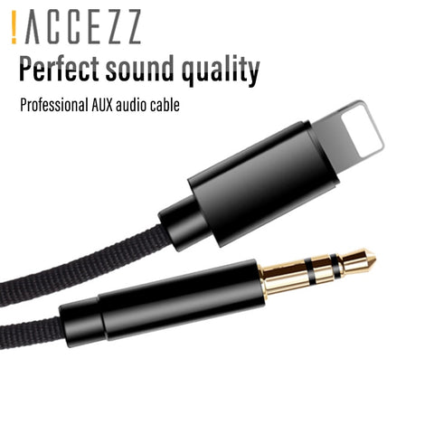 !ACCEZZ Car AUX Cable Audio Cord For iphone X XS MAX XR 7 8 Plus Converter 3.5mm Jack Headphone