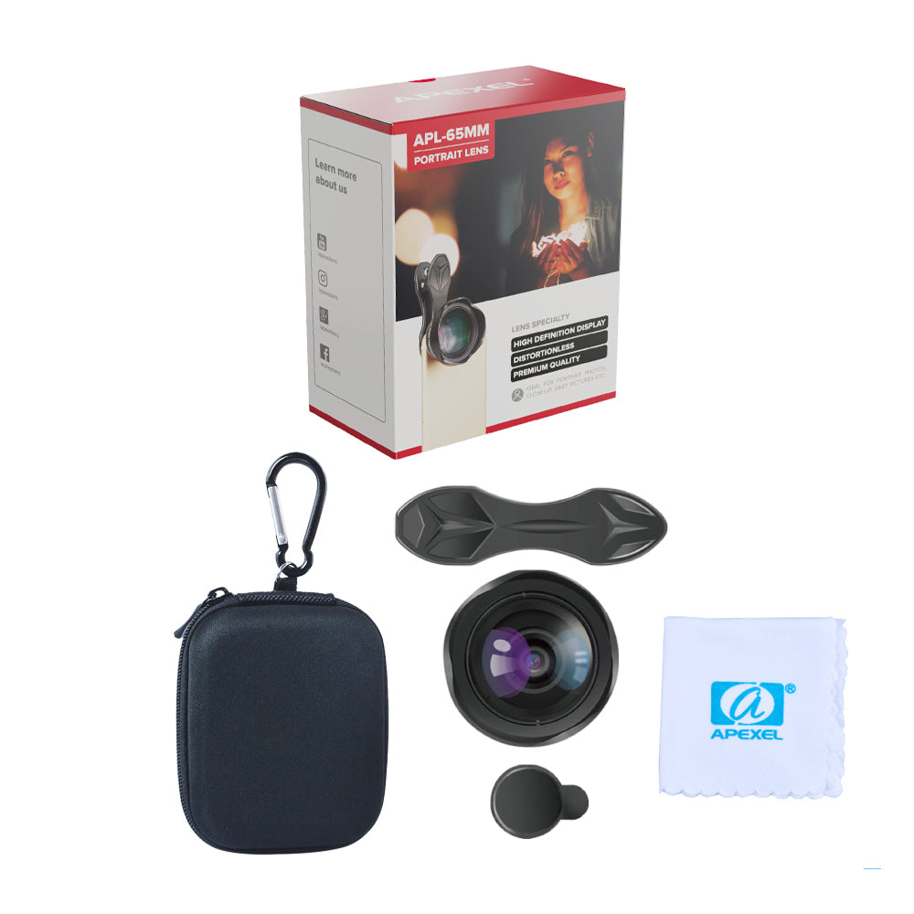 APEXEL 65mm Portrait Lens 3X HD Telephoto Lens Professional Mobile Phone Camera Lens for iPhone,