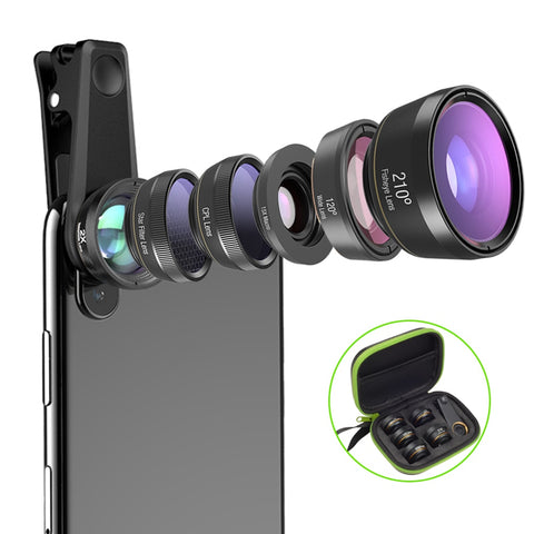APEXEL 6in1 Camera Lens Kit Photographer Mobile Phone Lenses Macro Wide Angle Fish Eye CPL Filter