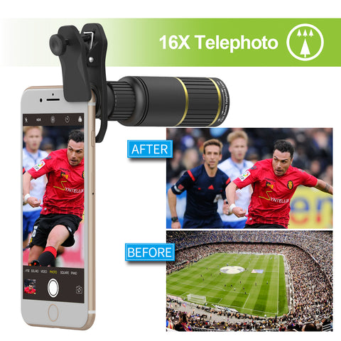 APEXEL Optic Mobile Phone Camera Lens 16x Telescope telephoto lens with tripod+ 5in1 fisheye wide