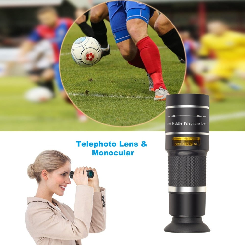 APEXEL Optic Phone camera lens 20X Telescope Telephoto monocular lens  for iPhone X 7 8 plus