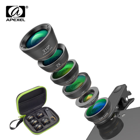 APEXEL Phone Camera Lens Kit 6 in 1 Fish Eye Lens 210 Degree Wide Angle  Macro Lens CPL/Star