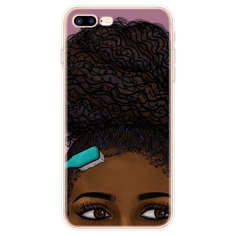 Afro Girls Black Women Art Silicone Case FOR iPhone XR XS Max X 10 For iPhone 5 5S SE 6S 6 4 4S 7