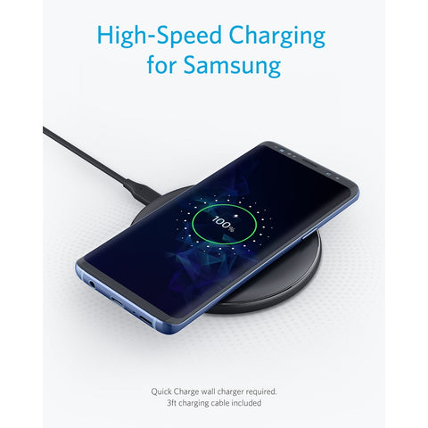 Anker 10W Wireless Charger Qi-Certified Wireless Charging Pad for iPhone Xs Max/XR/XS/X/8/8 Plus