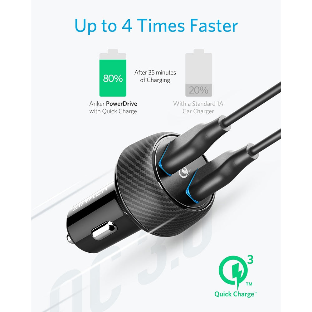 Anker PowerDrive Speed 2 39W Ultra-Compact Car Charger with Quick Charge 3.0 for Samsung Galaxy with