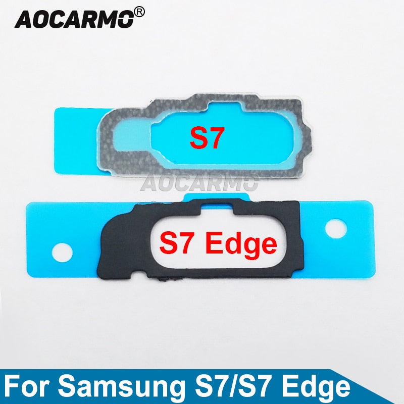 Aocarmo Touch ID Fingerprint Home Button Key Adhesive Gasket Bracket Mat With Sticker For Samsung