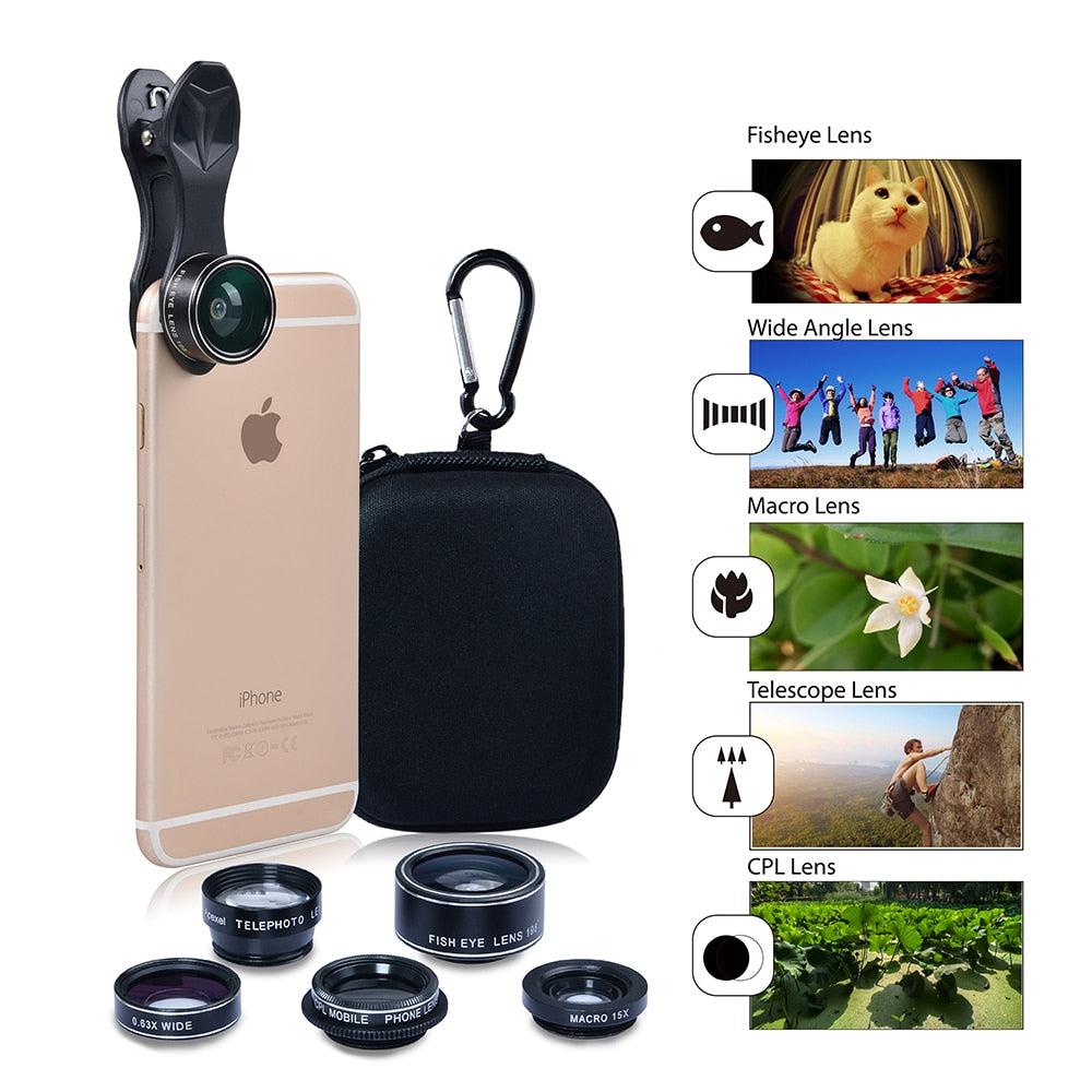 Apexel 5 in 1 HD Camera Lens Kit Fisheye Lens+0.63x Wide Angle+15x Macro Lens+2X Telephoto
