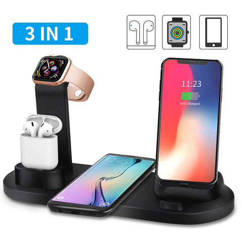 Ascromy Wireless Charger 3 in 1 Wireless Charging Stand Dock Station For Apple Watch Series 4 3 2