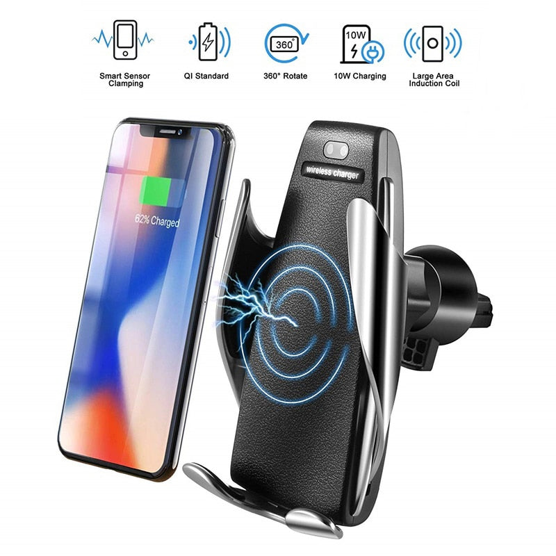 Automatic Clamping Fast Charging Phone Holder Mount in Car for iPhone XR Huawei Samsung Smart