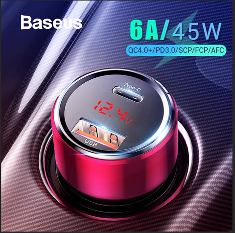 Baseus 45W Quick Charge 4.0 3.0 USB Car Charger for Xiaomi Mi Huawei Supercharge SCP QC4.0 QC3.0