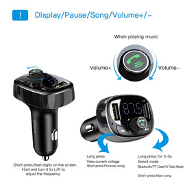 Baseus Car Charger FM Transmitter Aux Modulator Bluetooth Handsfree Car Audio MP3 Player 3.4A Fast