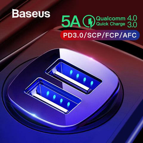 Baseus Dual USB Car Charger Quick Charge 4.0 3.0 For iPhone Xs Max Type-C PD Fast Charging For