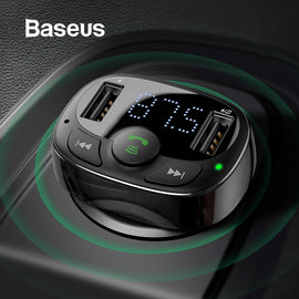 Baseus Dual USB Car Charger with FM Transmitter Bluetooth Handsfree FM Modulator Phone Charger in