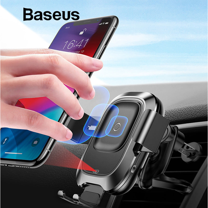 Baseus Intelligent Sensor Car Phone Holder for iPhone XS XR Fast QI Wireless Charger Air Vent