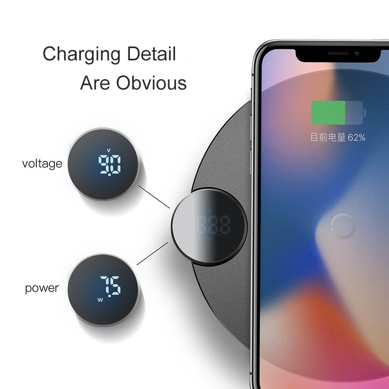 Baseus LCD Display Wireless Charger For iPhone X Xs Max Fast Wireless Phone Charger For Samsung