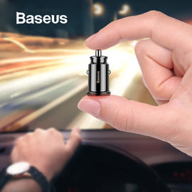 Baseus Mini USB Car Charger For Mobile Phone Tablet GPS 3.1A Fast Charger Car-Charger Dual USB Car