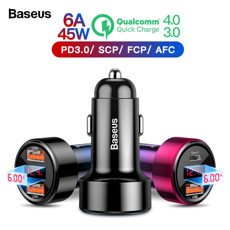Baseus Quick Charge 4.0 3.0 USB Car Charger For iPhone Xiaomi Mi Sumsung Mobile Phone QC4.0 QC3.0 QC