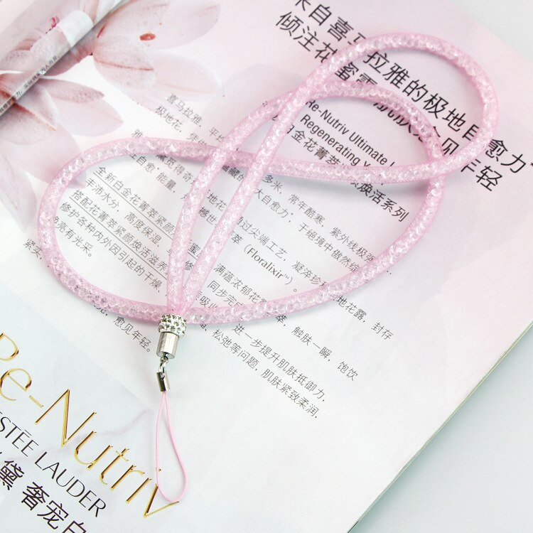 Bling Crystal Key Lanyard ID Badge Holders Mesh Yarn Mobile Neck Straps Creation Chain Bracelet