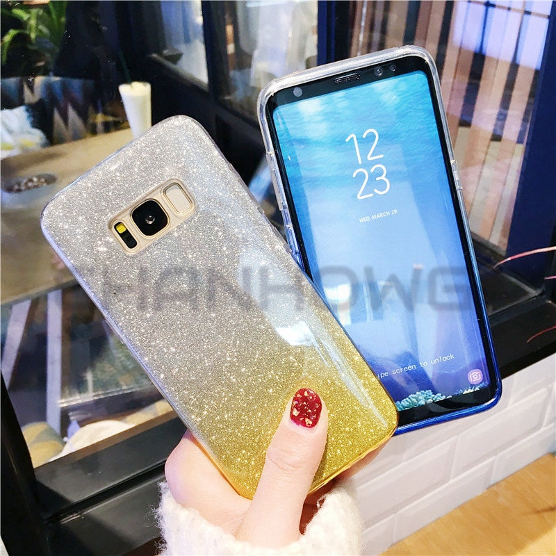 Bling Gradient Case for Samsung Galaxy S5 S6 S7 edge S8 S9 Plus Note 8 A3 A5 2016 J3 J5 J7 Neo