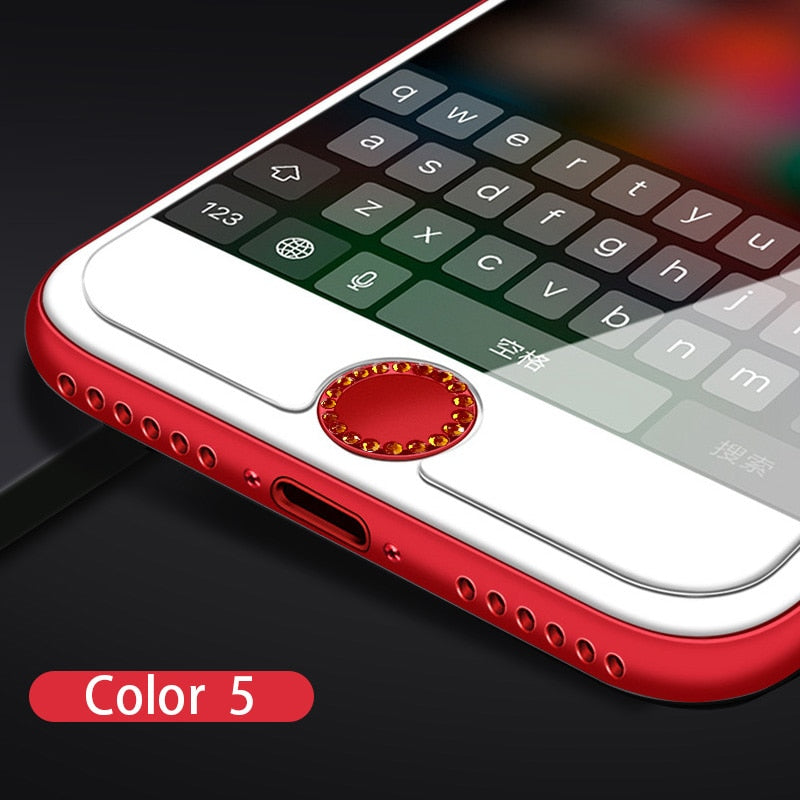 Bling Rhinestone Universal Home Button Sticker For iPhone X XS max XR 8 7 6 6S Plus 5S SE 5