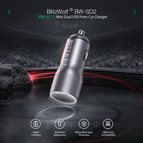 BlitzWolf Mini Car Charger For Mobile Phone 30W QC3.0 2.4A Dual USB Ports Fast Charging DC 12-24V